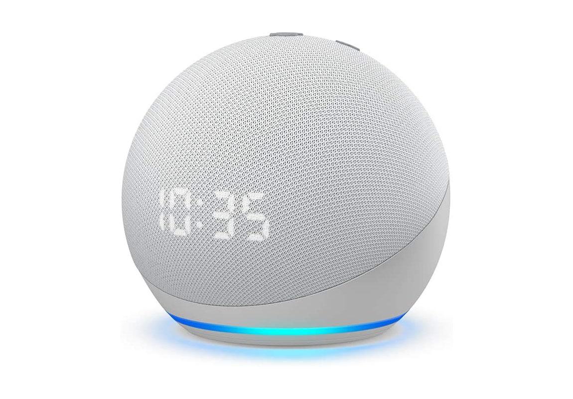 Echo Dot (4th Gen) | Smart speaker with clock and Alexa | Glacier White
